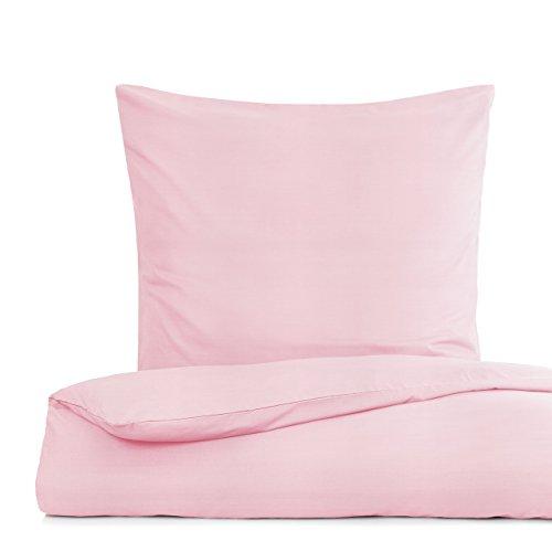 Lumaland Premium Bettwäsche Everyday Ganzjahres Bettbezug mit YKK Reißverschluss 155x220cm & Kissenbezug 80x80cm Rosa