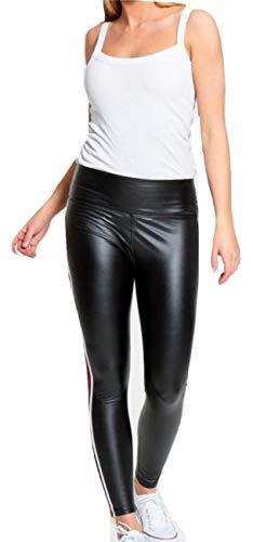 Top Fashion18 Damen Schwarz Glänzende Seitenstreifen Dünne PU Vinyl Hohe Taille Legging Hose Größe 8-16 - Pu Vinyl
