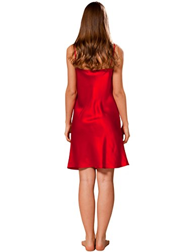 ElleSilk Nachthemd Seide für Damen,Seiden-Nachtwäsche, Spitzenqualität Kirschrot
