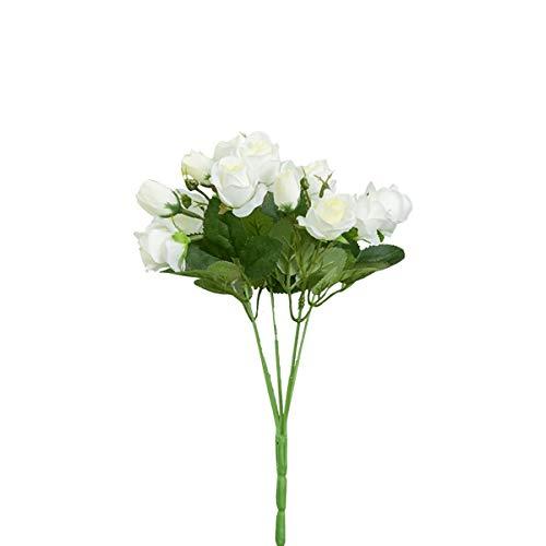 Mingzuo Künstliche Blumen, 15 Köpfe, künstliche Rose, Seide, Kunstblume, echte natürliche Rose, für Hochzeit, Party, Brautstrauß, Heimdekoration, 4 pcs White, 15 flowers (Künstliche Blumen Für Die Beerdigung)