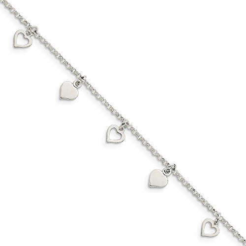 IceCarats Designer Jewellery Sterling Silver Polished Hearts Anklet In 10.00 Inch