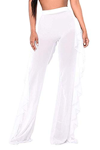 Willow Dance Damen Perspective Sheer Mesh Rüschen Pants Badeanzug Bikini Bottom Cover Up - Weiß - Small Cover Willow