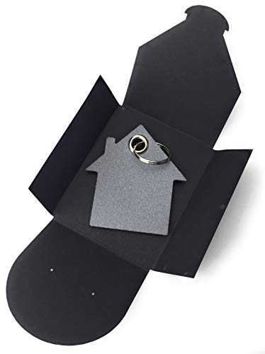 sselanhänger aus Filz - Haus - grau/hell-grau - als besonderes Geschenk mit Öse und Schlüsselring - Made-in-Germany ()