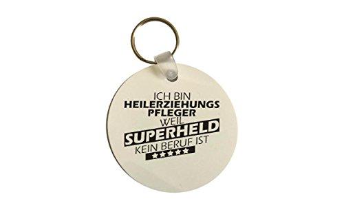 Schlüsselanhänger rund, Ich bin Heilerziehungspfleger weil Superheld kein Beruf ist