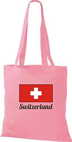 ShirtInStyle Stoffbeutel Baumwolltasche Länderjute Switzerland Schweiz Farbe Pink rosa