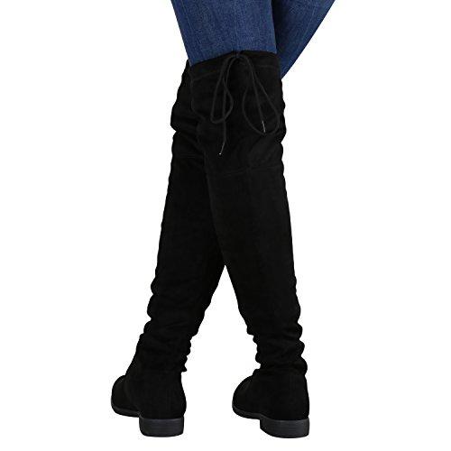 4788b7bf61d6a2 Stiefelparadies Damen Stiefel Overknees mit Blockabsatz Schleifen Flandell