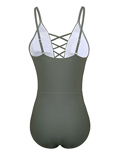 Yolev Badeanzug Monokini Bandage rükenfrei Badebekleidung für Damen Grau