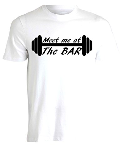 Meet Me At The Bar Gym Workout Training Weights Lifting Mens Tshirt Tee Top - White - 24 inches - XX-Large