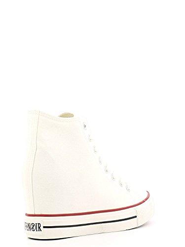 Cafè Noir Sneaker femmes Wedge Cm 7 Toile Noir Bianco