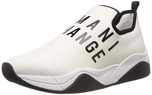 Armani Exchange Damen Neoprene lace up Sneaker, Weiß (White 00001), 38 EU