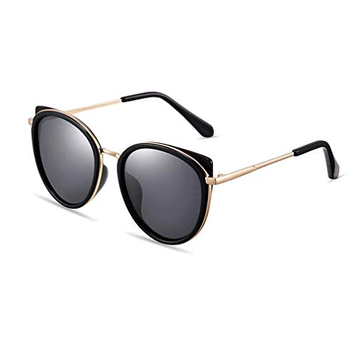 KISlink Damenmode Polarisierte Cute Cat Eye Sonnenbrille UV400 HD Linsen (Farbe: Bright Black)