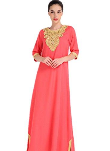 Dreamskull Muslim Abaya Dubai Muslimisch Islamisch Arab Arabisch Indien Türkisch Casual Abendkleid Kaftan Kleid Maxikleid Stoffdruck Damen Frauen (M, (Saudi Für Kostüm Arabien Mädchen)