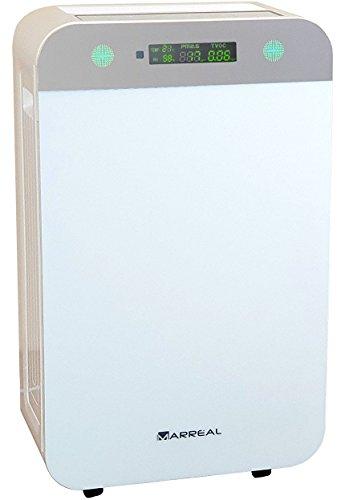 Marreal AP5001B Großer HEPA Luftreiniger 80m² ultraleise mit Partikel + VOC Sensor und Anzeige Nachtmodus 8 Stufen Reinigung Weiß