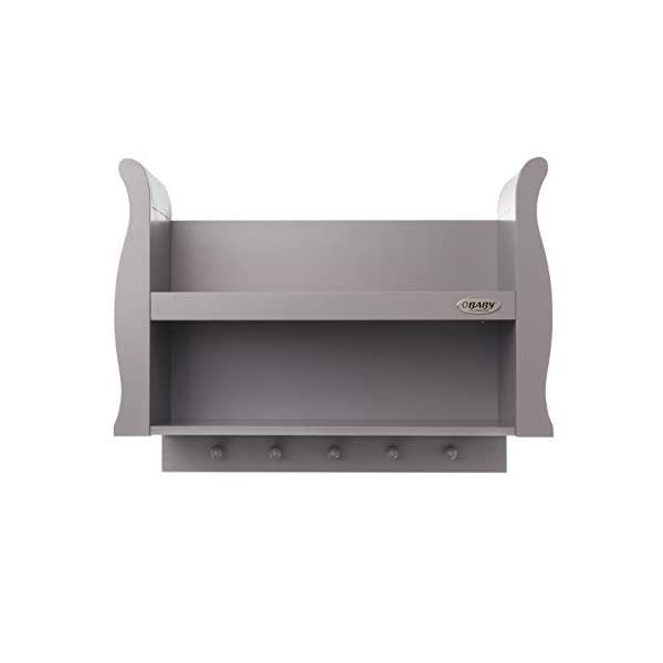 Obaby Stamford Sleigh Shelf - Taupe Grey Obaby 2 shelves provide extra storage for precious possessions Top shelf features a lip at the front for extra security 5 wooden pegs offer additional hanging space below 1