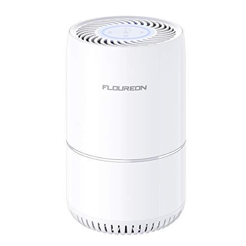 floureon Purificateur d'Air avec Véritable HEPA et Filtre à Charbon, 3 Etapes de Filtration (Jusqu'à 99.97%), Eloignez Pollen, Batterie, et Poils, Anti-Tabac, 3 Vitesse de Réglage avec Veilleuse