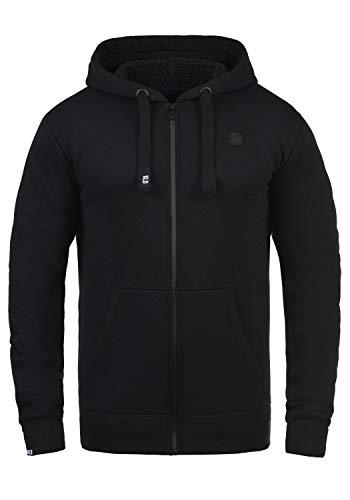 !Solid Bene Zip Hood Pile Herren Winter Sweatjacke Kapuzen-Jacke Zip-Hoodie Pullover mit Kapuze und Teddy-Futter, Größe:S, Farbe:Black Pil (P9000)