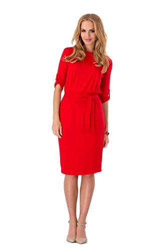 Robe Droite Futuro Fashion Pour Femme Avec Ceinture Col Bateau Manches 3/4 - 8986 Rouge
