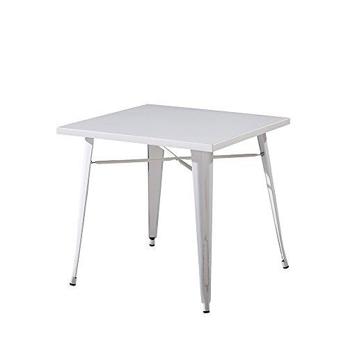 Italian Concept 179 Tavolo Industrial, Metallo, Bianco, 80 x 80 x 75 cm