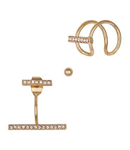 """SIX\""""Trend\"""" Set aus goldenem Doppel Ohrring Front Back Vorne Hinten Stecker, Ear-Cuff mit Strass-Stäben (459-769)"""