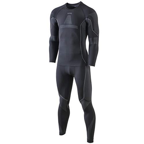 Selighting Herren Funktionsunterwäsche Thermo Skiunterwäsche Warme Unterwäsche Set für Ski Radsport Fitness Laufen (M, Grau) -