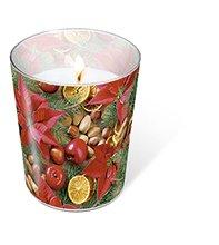 1 Kerze Glaskerze Xmas arrangement Höhe 10 cm, dm 8,5 cm
