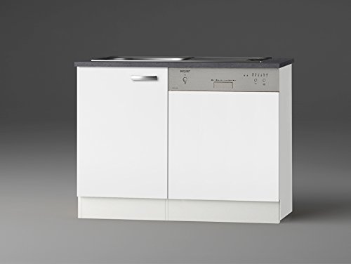 idealShopping GmbH Spülenschrank-Set mit Arbeitsplatte SPGSSET-9 in weiß glänzend