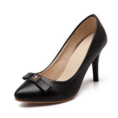 Moda Donna Sandali Sexy donna tacchi Estate / Autunno tacchi / Punta PU Office & Carriera / Casual Stiletto Heel Bowknot nero / blu / Black