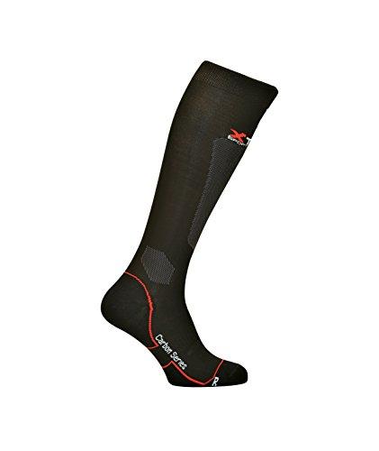 Xtech Carbon 2,0 Chaussette Haute Technique D'été Légère Fibre de Carbone Unisexe Noir Noir 43-46