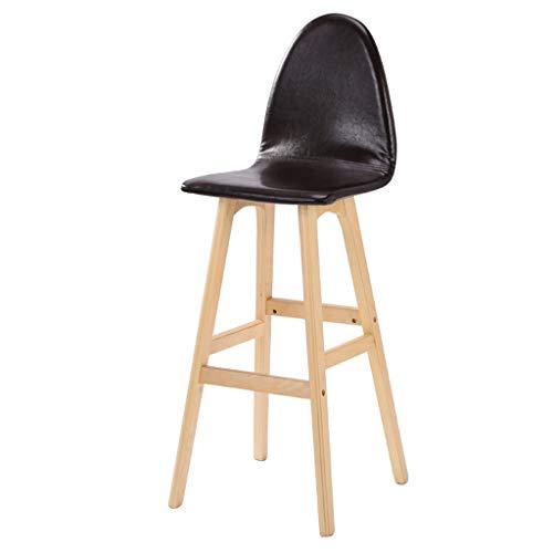 Semplice, legno, cuscino in pelle artificiale bar creativo seggiolone in stile europeo sedia in legno vintage sgabello da bar altezza 75cm (colore : nero)