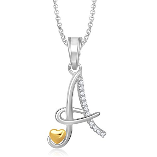 Meenaz Fashion Jewellery Silver Gold Plated 'A' Letter Pendants For Girls with chain Women men Unisex Locket Alphabet Heart Pendant Jewellery Set for women- Chain Pendant 339