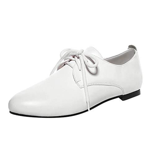BASACASandalenDamenFrauenMädchenSchnürschuhe Flache Schuhe Große Einzelschuhe WildeSchuheFrauSlipperMode2019 (36 EU, Weiß) Metallic-ballet Slippers