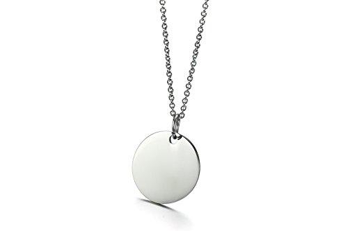 Vnox Personalisierte Edelstahl Erste Runde Anhänger Münze Rohlinge Disc Halskette für Frauen Mädchen, Kostenlose Gravur