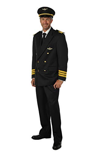 Piloten-Kostüm Herren-Anzug Blau Pilotenjacke Hose (ohne Piloten-Mütze) Karneval Fasching Hochwertige Verkleidung Fastnacht Größe M Marineblau (Pilotenmütze Mit Brille)