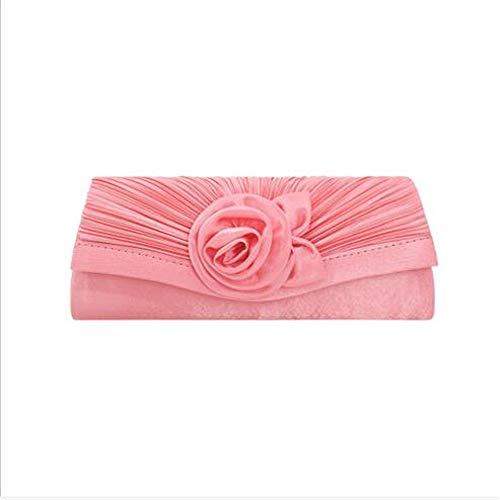 Reißverschluss Lange BrieftascheDing Tuch handgemachte Blume Lady Clutch Coral Red 28cmx11cm -