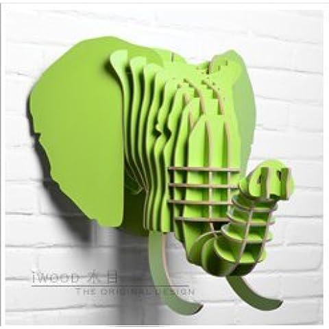 Decorazione di Natale Nordico elefante creativo hangings della parete in legno artigianato creativo home decor 460 * 510 * 482 mm,Verde