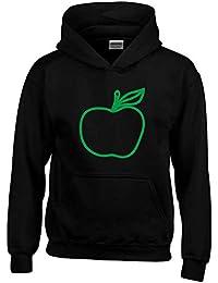 8161e44f2e T-Shirtshock Felpa Cappuccio Bambino Nera WES0231 Green Apple with Leaf