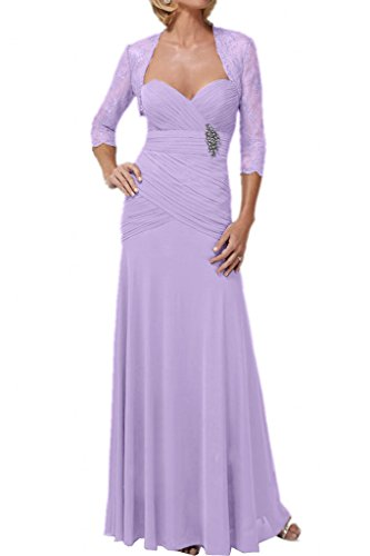 Promgirl House Damen Glmaour Mermaid Abendkleider Ballkleider Brautmutterkleider Lang mit Spitze Bolero Helllila
