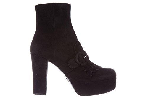 Prada stivaletti stivali donna con tacco camoscio nero EU 38.5 1TP238_008_F0002