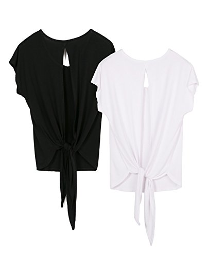 icyzone Damen Tank Tops Casual Kurzarm Rückenfrei Shirts für Yoga Workout (XL, Black/White2)