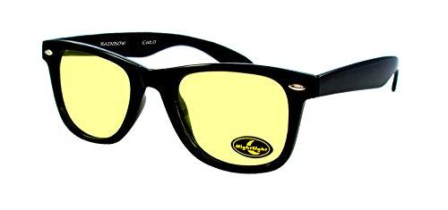 rainbow safety Auto Brille Nachtsichtbrille Nachtfahrbrille Kontrastbrille Blaulicht-Schutz Polarisierte Gläser RWN1P (Schwarz)