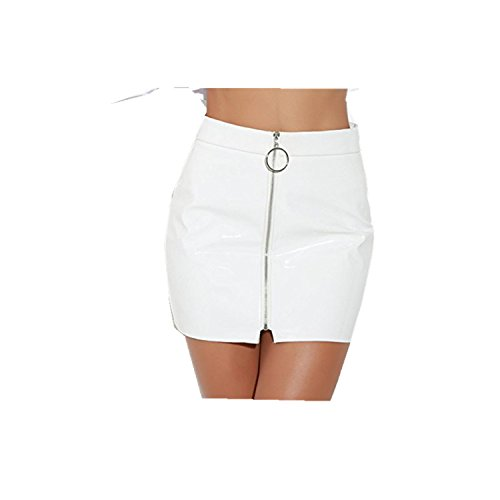 DRESS_start Falda Sexy Delgada De LáPiz De Cremallera De Mujer De Cintura Alta De Pintura De Cuero De Alta Cintura Mini Falda Sexy Delgada, (S, Blanco)