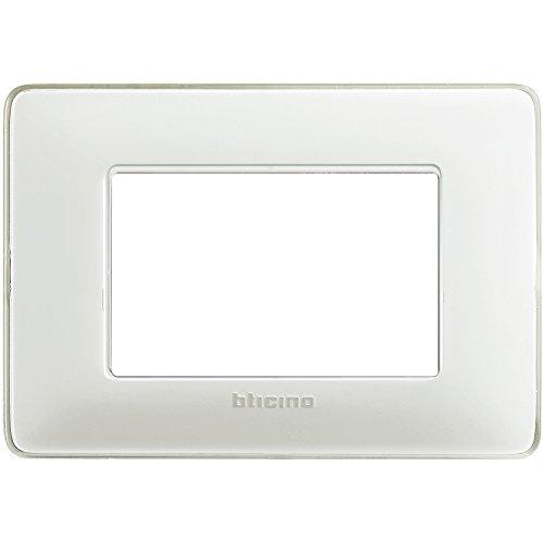 BTicino AM4803CBN Placca 3 Moduli, Ghiaccio