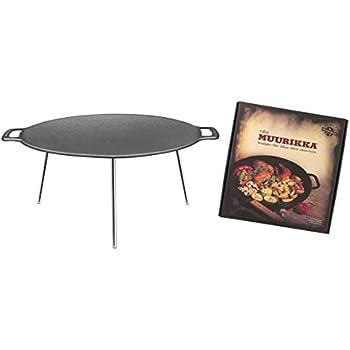 traditionell finnische Grillschale zum Grillen /über offenem Feuer MUURIKKA finnische Grillpfanne /Ø 78 cm aus 3 mm hei/ßgewalztem Stahlblech und Standbeinen aus Edelstahl
