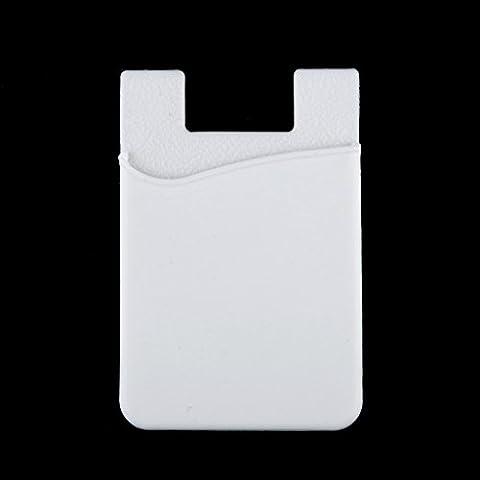 Wallet ID Credit Card Case Holder Adhésif en Silicone Pour Smart Phone - Blanc