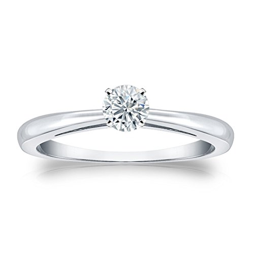 313RQECoItL BEST BUY #10.25 Ct Round Cut Cubic Zirconia Solitaire Engagement Ring in 14k White Gold Finish Sterling Silver