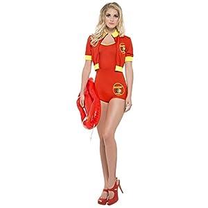 Smiffys, Ladies Baywatch Lifeguard Costume, Bodysuit, Jacket and Swimming Board, Size: S, 33321