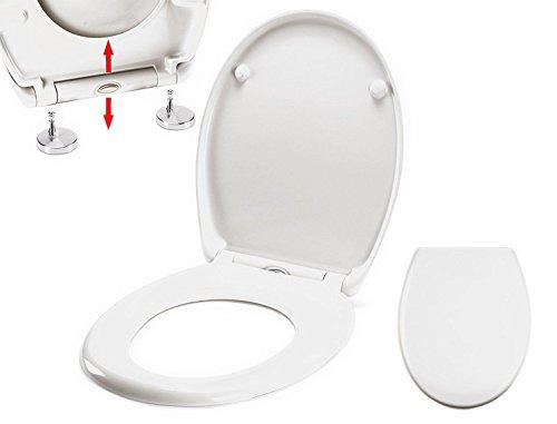 Preisvergleich Produktbild MSV WC Sitz Toilettendeckel Duroplast mit Absenkautomatik und auf Knopfdruck abnehmbar zur Reinigung in Weiß – Easy Fix Clip System