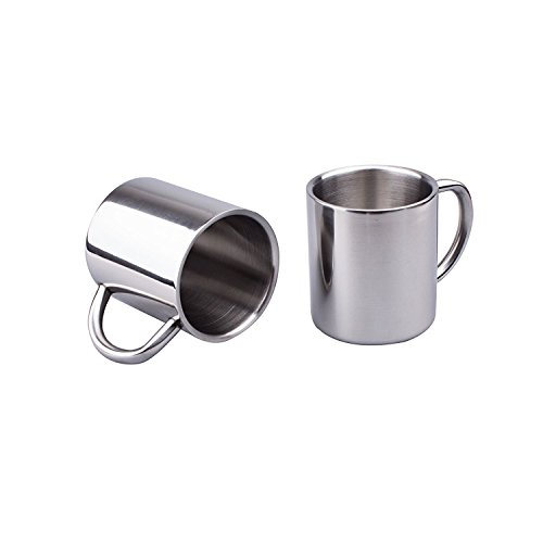 IMEEA Tea Cup Stainless Steel Double Wall Mugs 220ml for Drinking Tea Coffee Hot Soup Set of 2