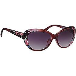 Sonnenbrille UAF630F2 Damen Brille Fassung rot blume, Linse grau verlaufend