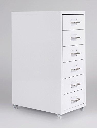 lifestyle4living Rollcontainer Metall Weiß mit Schubladen | Rollschrank | Unterschrank |...